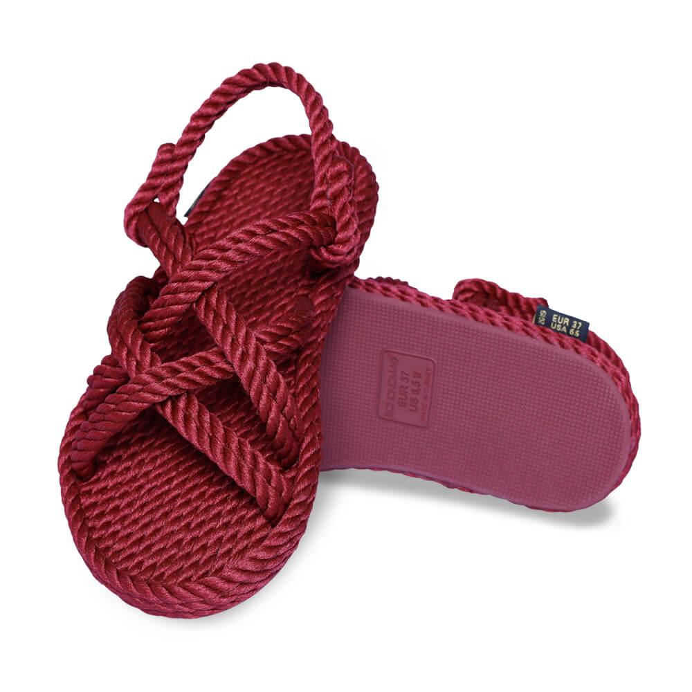 Bodrum sandales à cordon pour femmes – Rouge Bordeaux