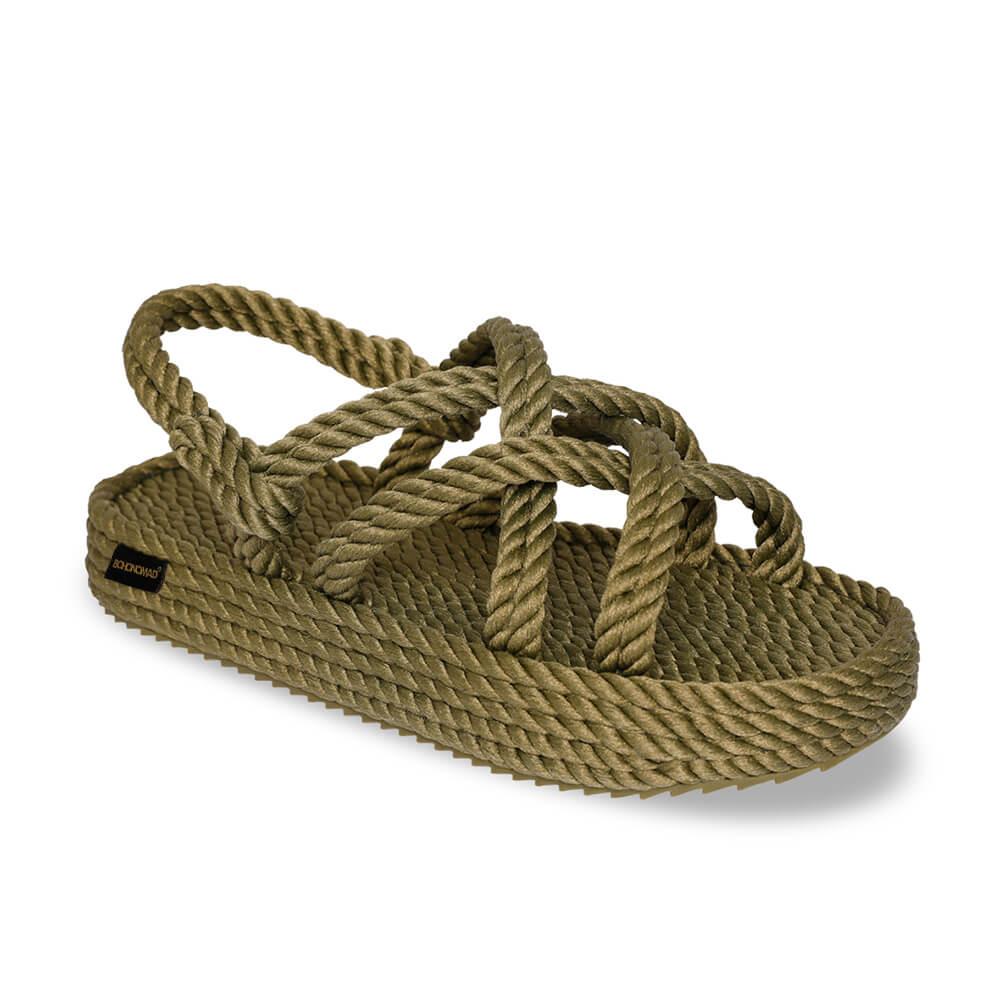 Bodrum sandales à plateforme en corde – Kaki