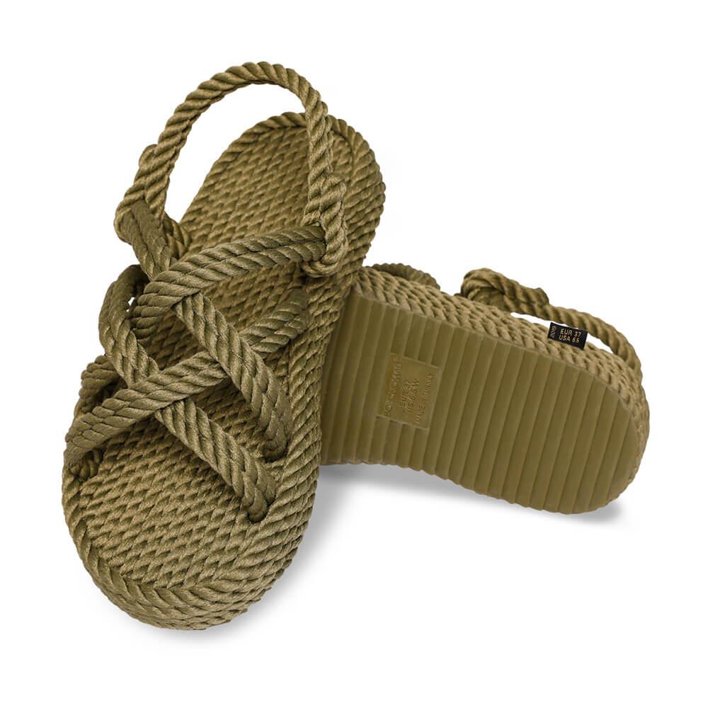 Bodrum Platform Rope Sandal – Khaki