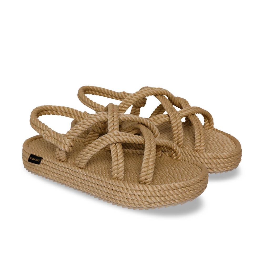 Bodrum Platform Rope Sandal – Beige