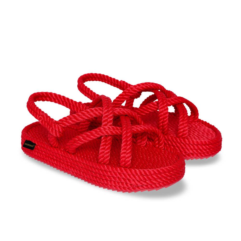 Bodrum sandales à plateforme en corde – Rouge