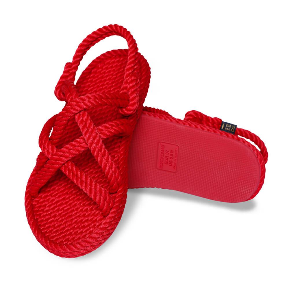 Bodrum sandales à cordon pour femmes – Rouge