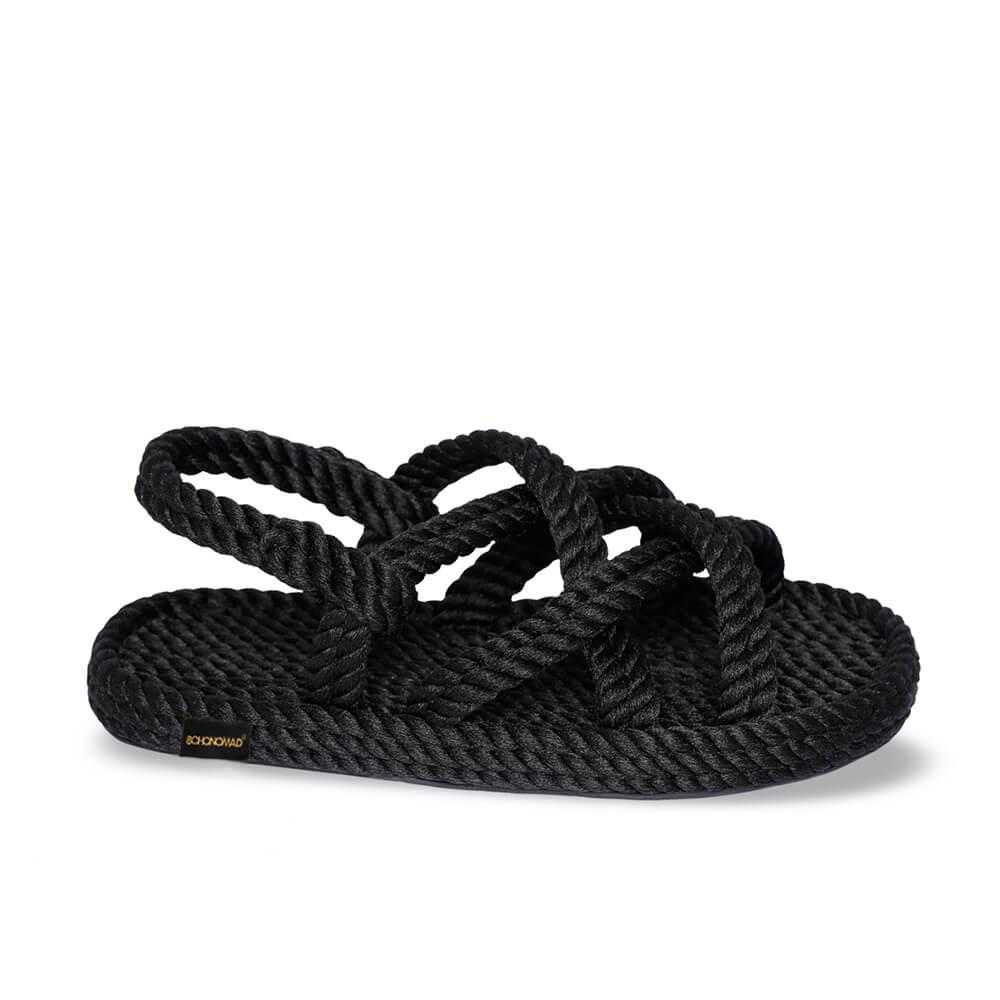 Bodrum sandales à corde pour enfants – Noir