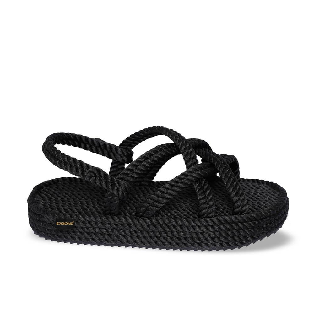 Bodrum Platform Rope Sandal – Black