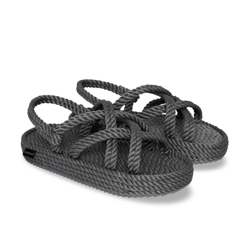 Bodrum Platform Rope Sandal – Grey
