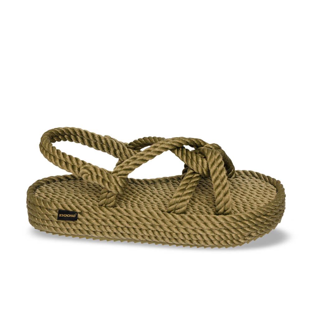 Bora Bora sandales à plateforme en corde – Kaki