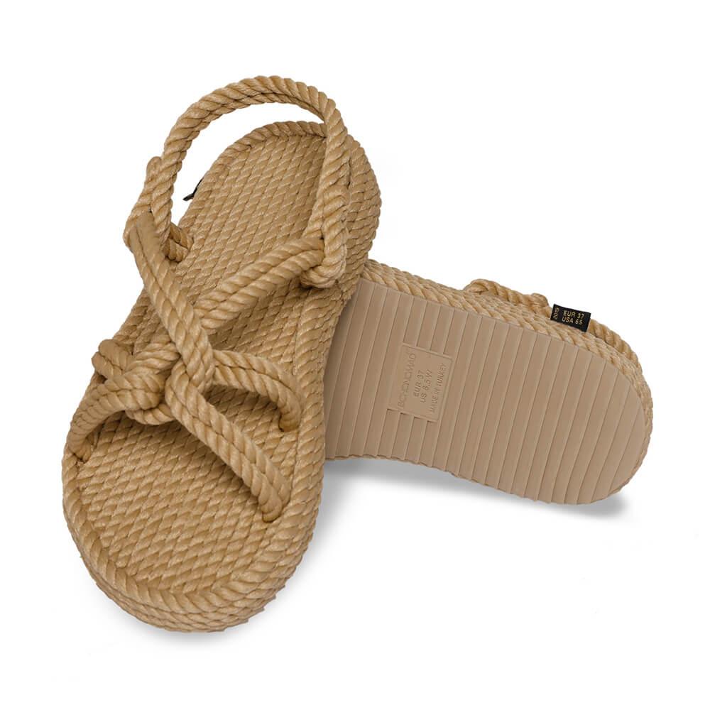 Bora Bora sandales à plateforme en corde – Beige