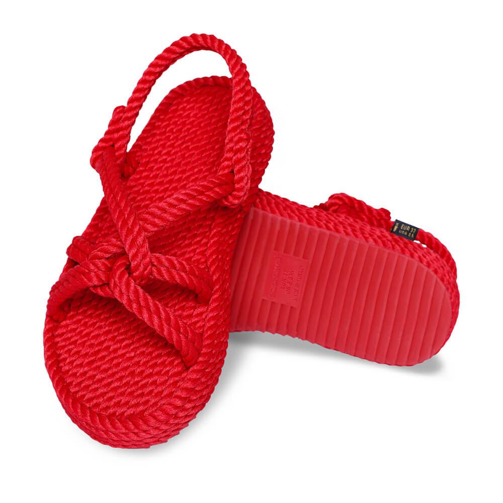 Bora Bora Platform Rope Sandal – Red