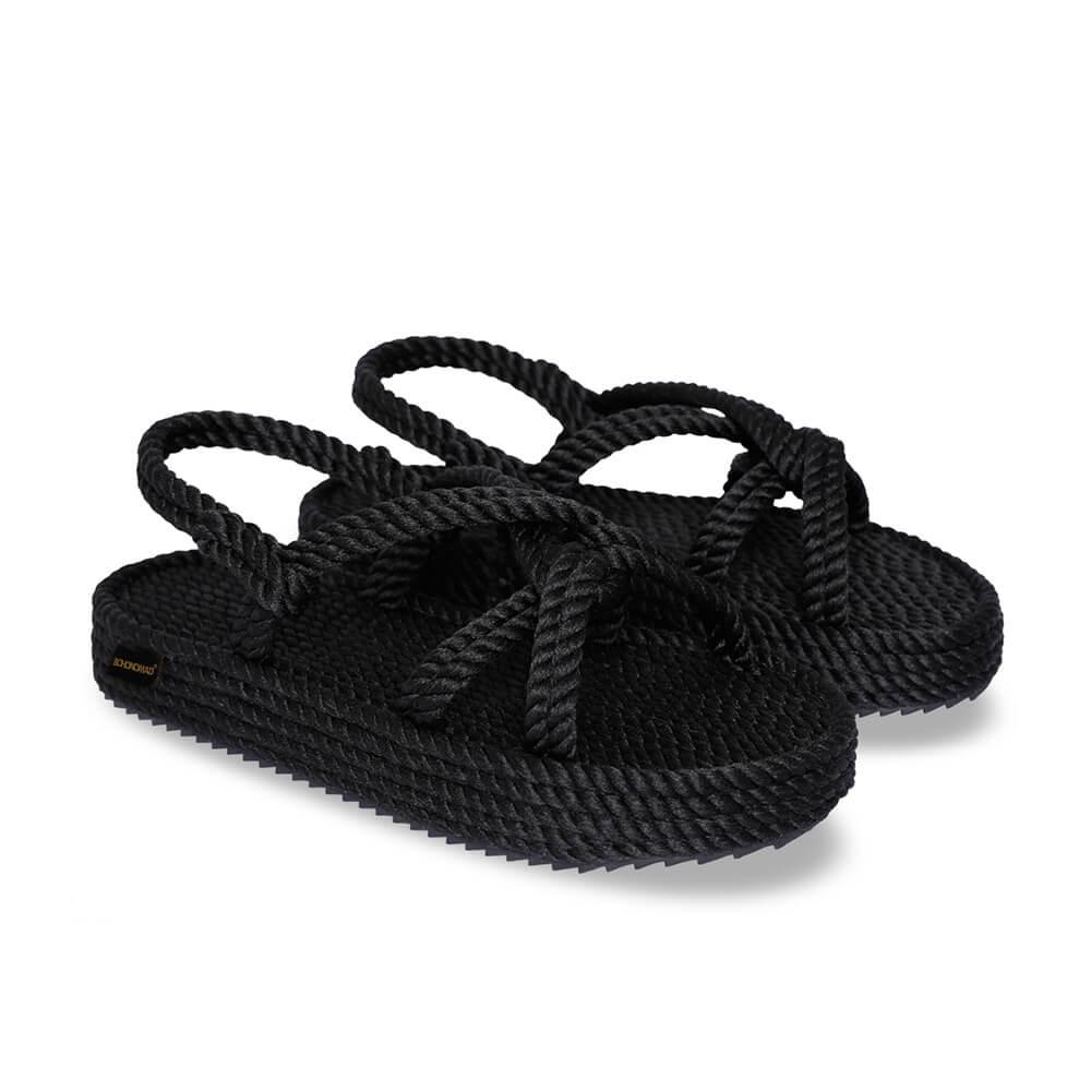 Bora Bora sandales à plateforme en corde – Noir