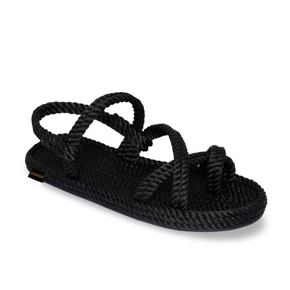 Capri sandales à cordon pour femmes – Noir