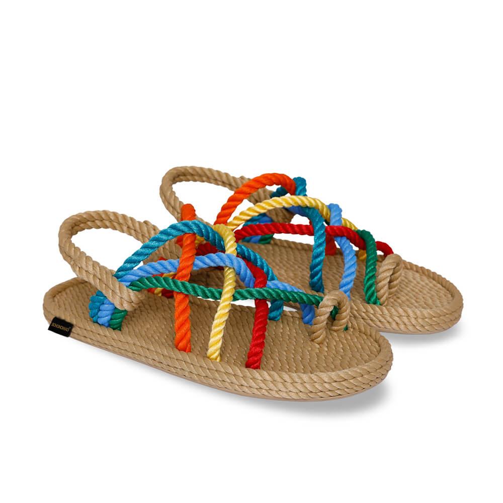 Cape Point sandales à cordon pour femmes – Beige & Multi