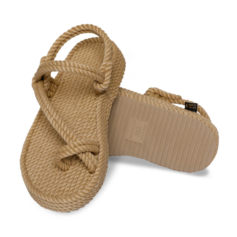 Hawaii Platform Rope Sandal – Beige