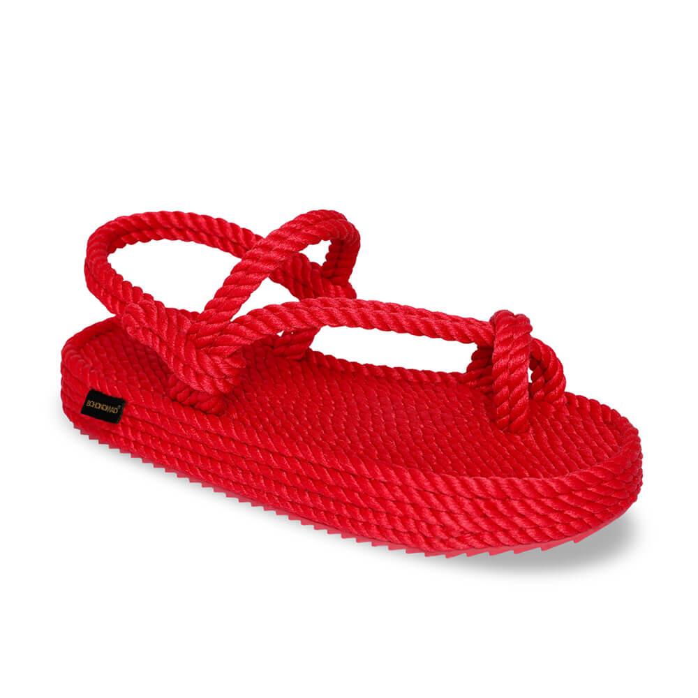 Hawaii sandales à plateforme en corde – Rouge