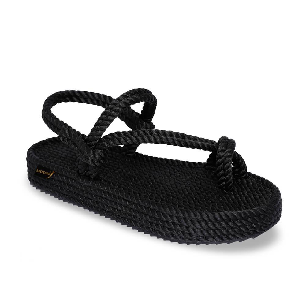 Hawaii sandales à plateforme en corde – Noir