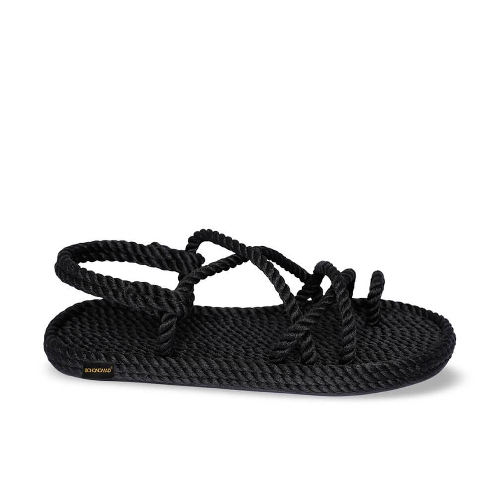 Ibiza sandales à cordon pour femmes – Noir