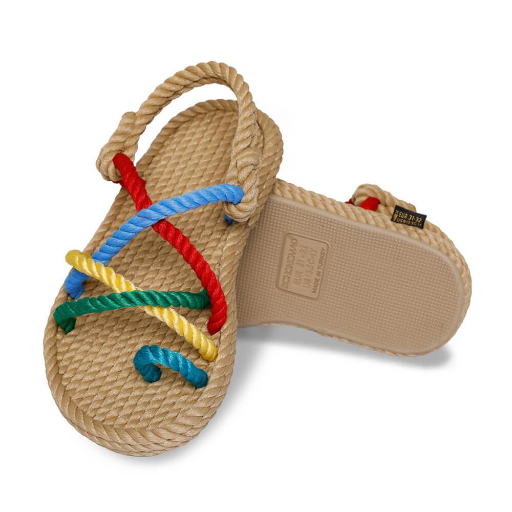 Ibiza sandales à corde pour enfants – Beige & Multi