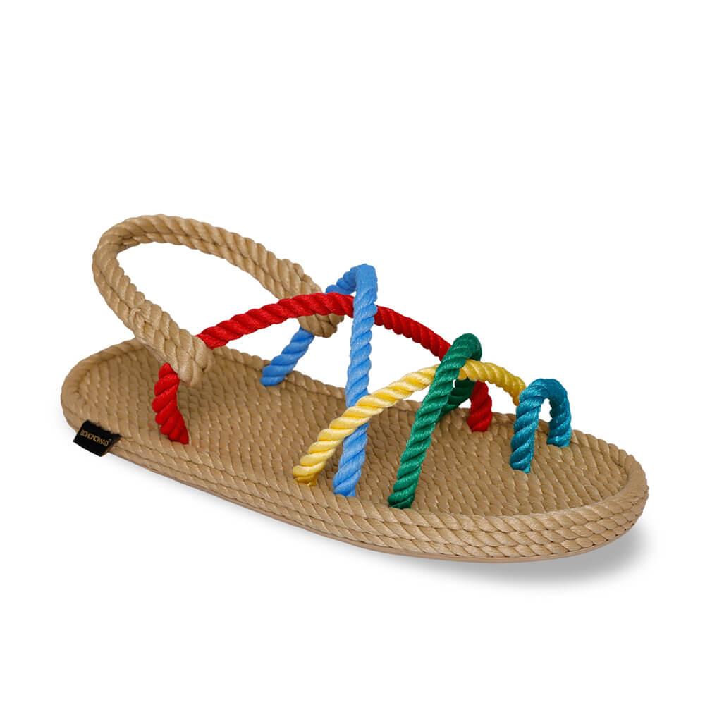Ibiza sandales à cordon pour femmes – Beige & Multi