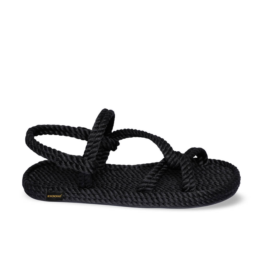 Mykonos sandales à cordon pour femmes – Noir
