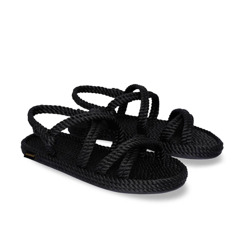 Tahiti sandales à cordon pour femmes – Noir